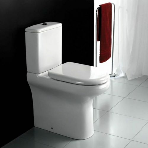 RAK Compact Rimless WC Toilet, Hygienic, Raised Height, Inc Soft Close Seat